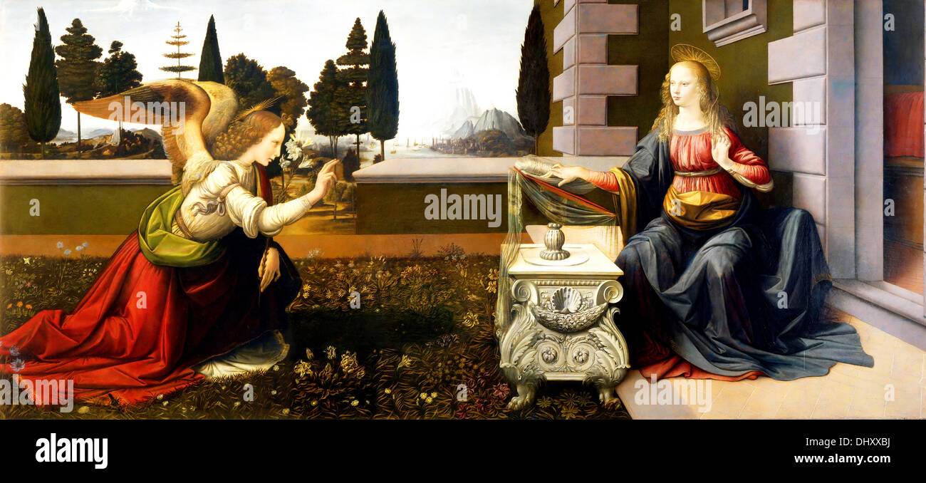 Annunciation - by Leonardo Da Vinci, 1475 - Stock Image