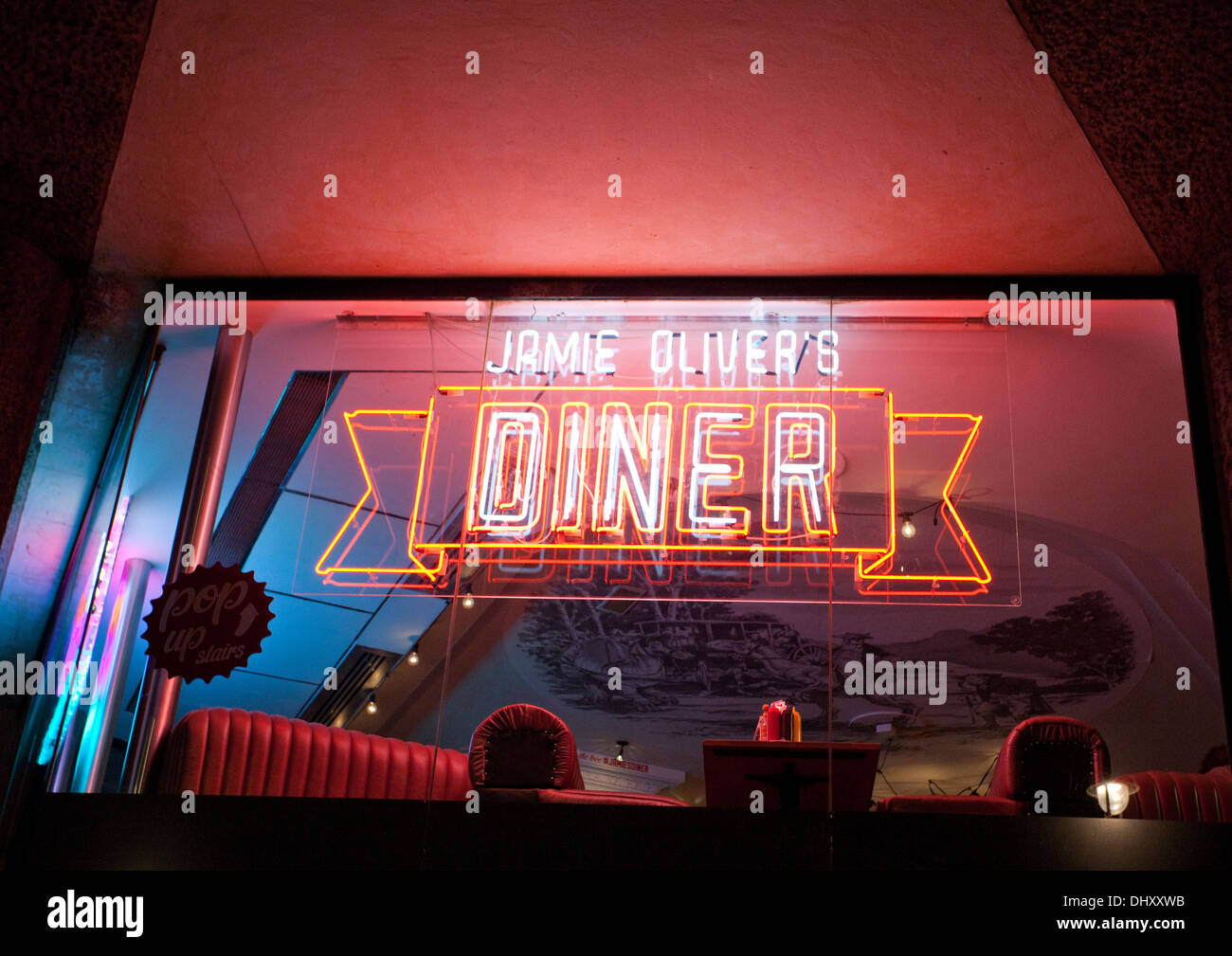 Jamie Oliver's Diner in Shaftesbury Avenue in West End of London - Stock Image