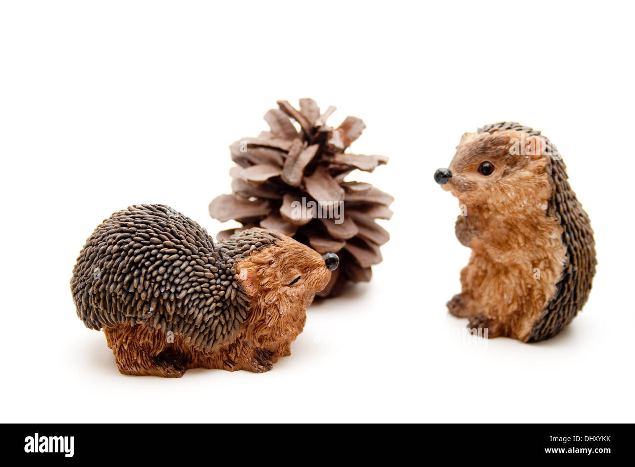 Hedgehog figure with pine plug - Stock Image