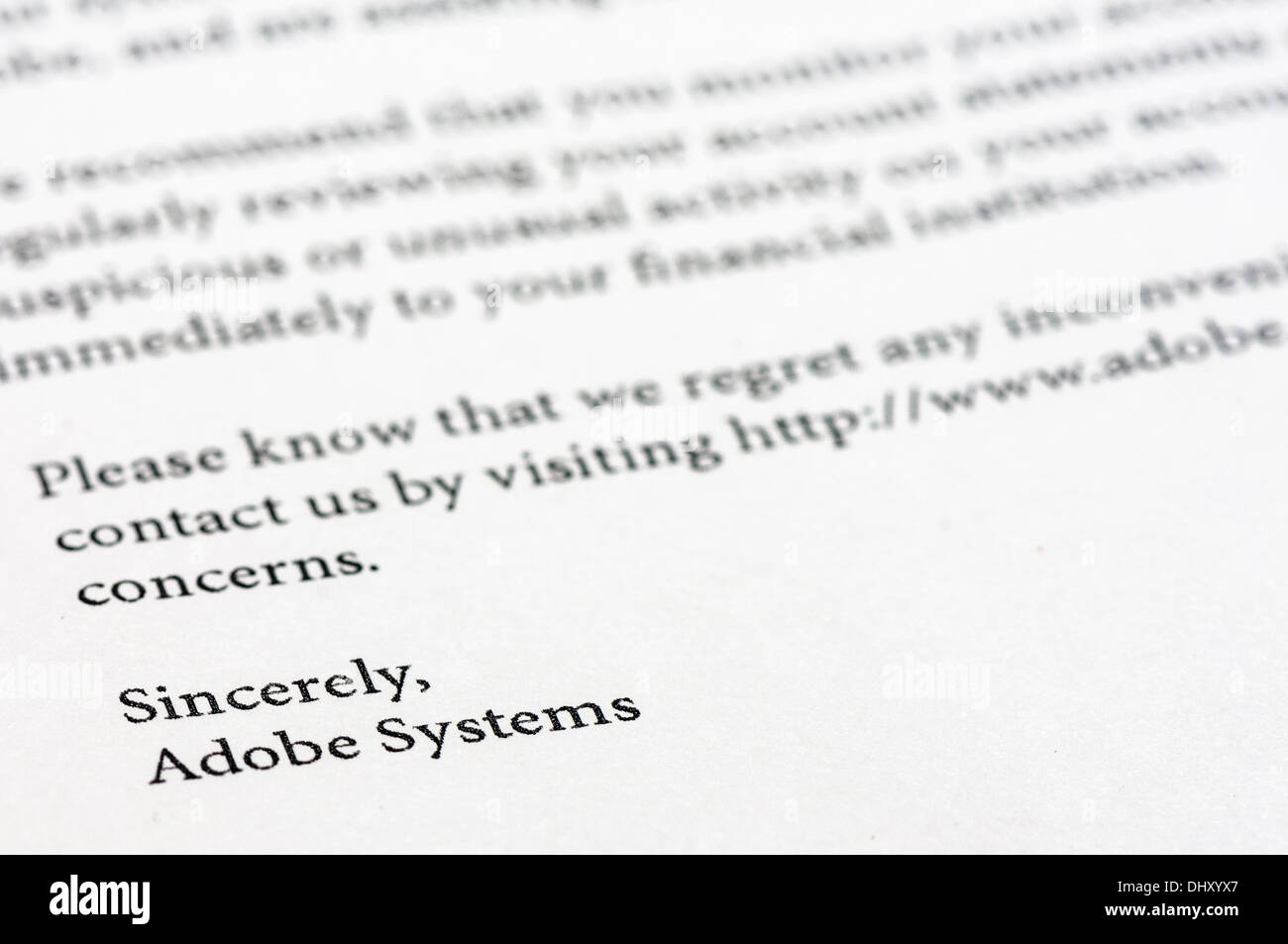 Worldwide, 16th Nov 2013 - Adobe writes to millions of customers following the theft of their customer database during a hack in 2012. Initial estimates put the number at 2.5 million, but it is believed to be closer to 38 million accounts, with some experts believing as many as 150 million could have been compromised. Credit:  Stephen Barnes/Alamy Live News - Stock Image
