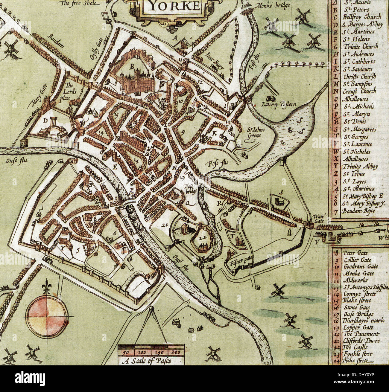 Map Of England 200.Old Map Of York England By John Speed 1611 Stock Photo 62673738