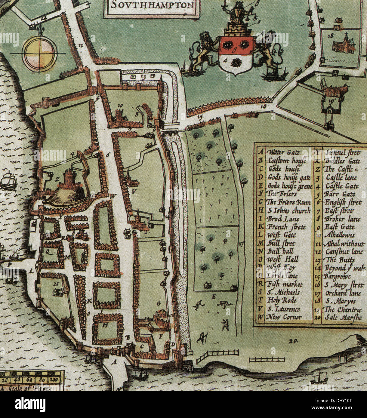 Old map of Southampton England by John Speed 1611 Stock Photo