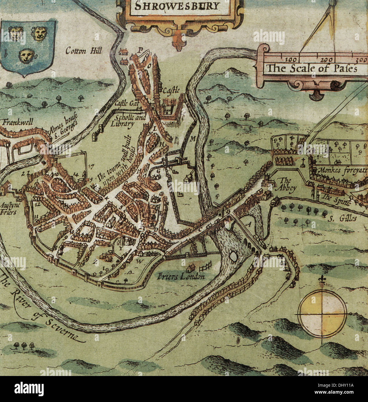 Old map of Shrewsbury England by John Speed 1611 Stock Photo