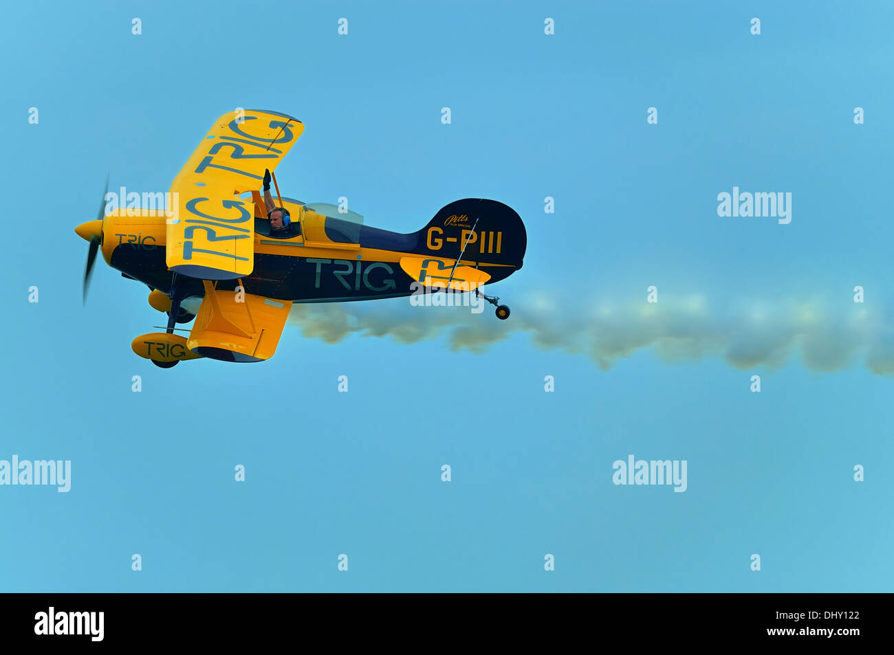 Trig aerobatic team.Flying Pitts Special S-1D biplanes at Clacton air show 2013 - Stock Image