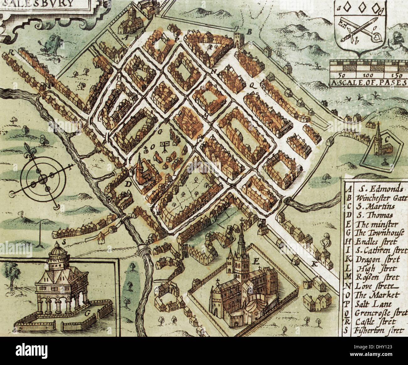 Old Map Of Salisbury England By John Speed 1611 Stock Photo