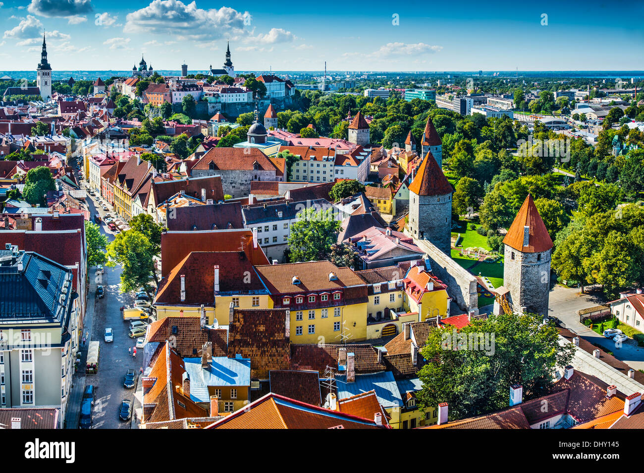 Dawn in Tallinn, Estonia at the old city. - Stock Image