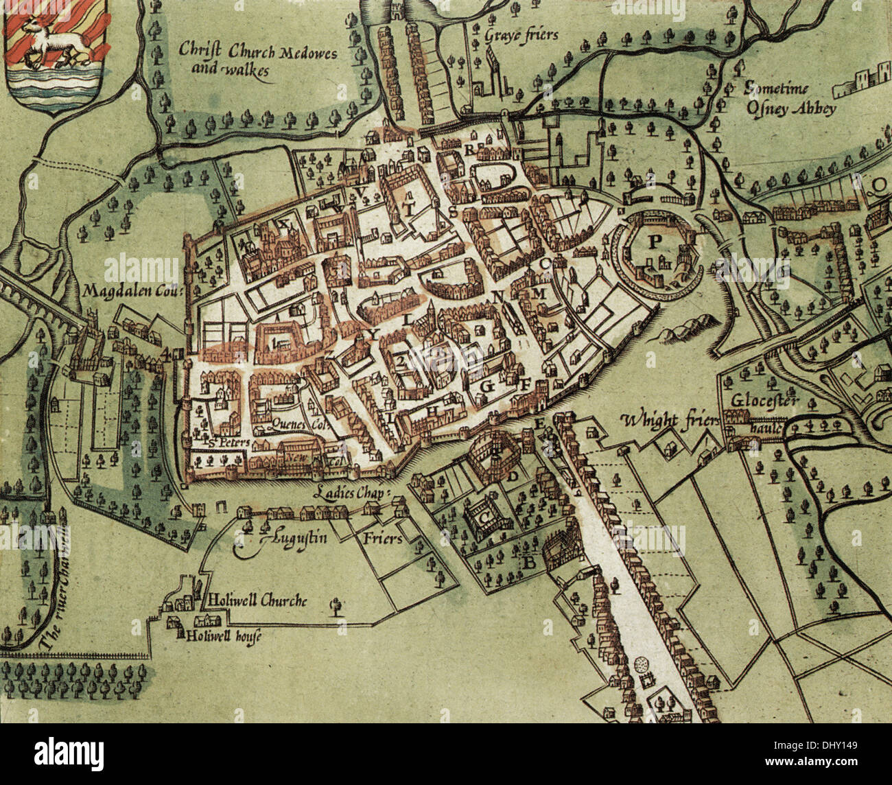 Old map of oxford england by john speed 1611 stock photo old map of oxford england by john speed 1611 gumiabroncs Gallery