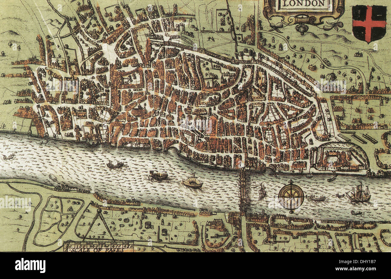 Old map of London, England, by John Speed, 1611