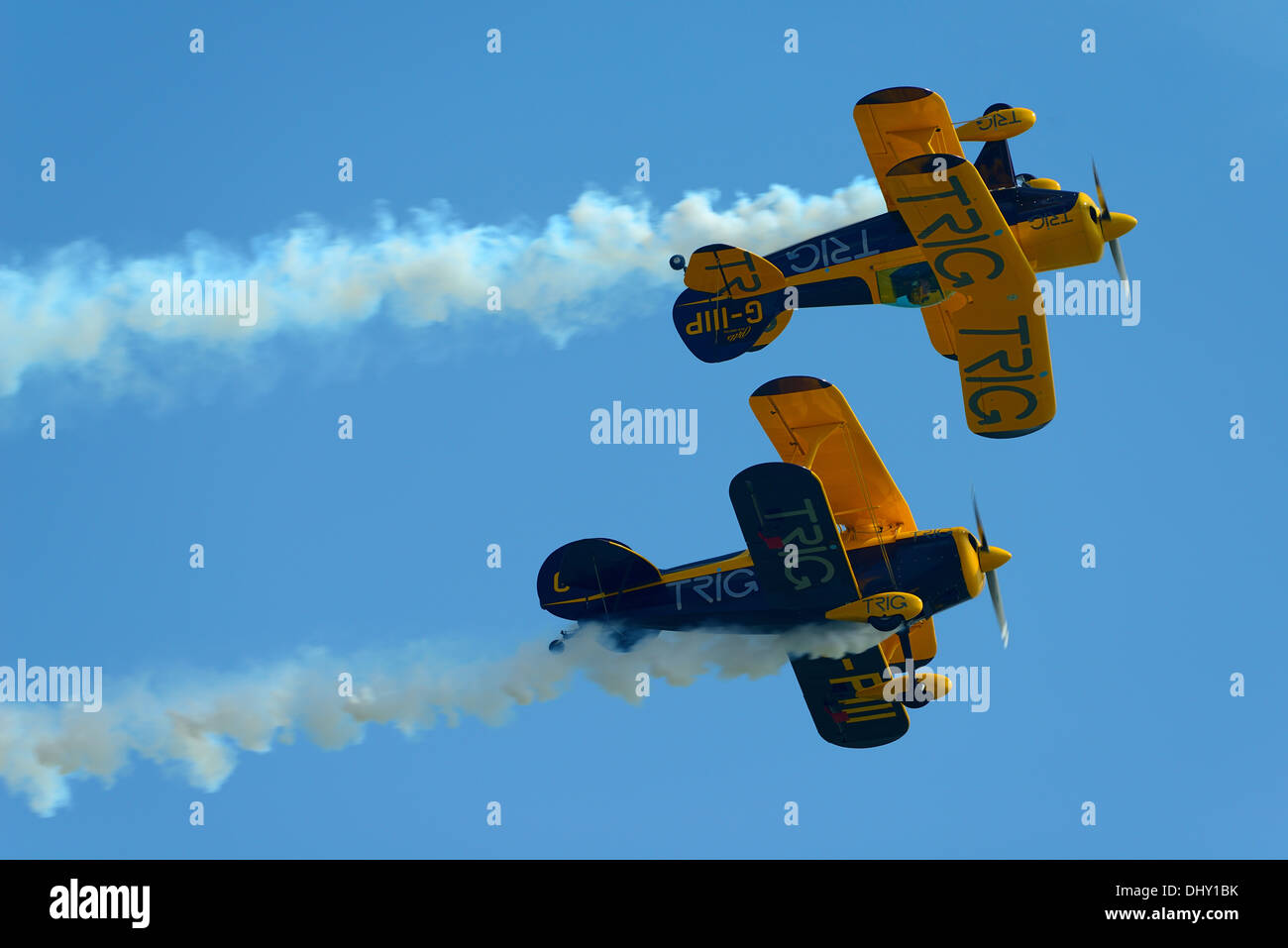 Trig aerobatic team.Flying Pitts Special S-1D biplanes at Clacton air show,Essex,UK,2013 - Stock Image