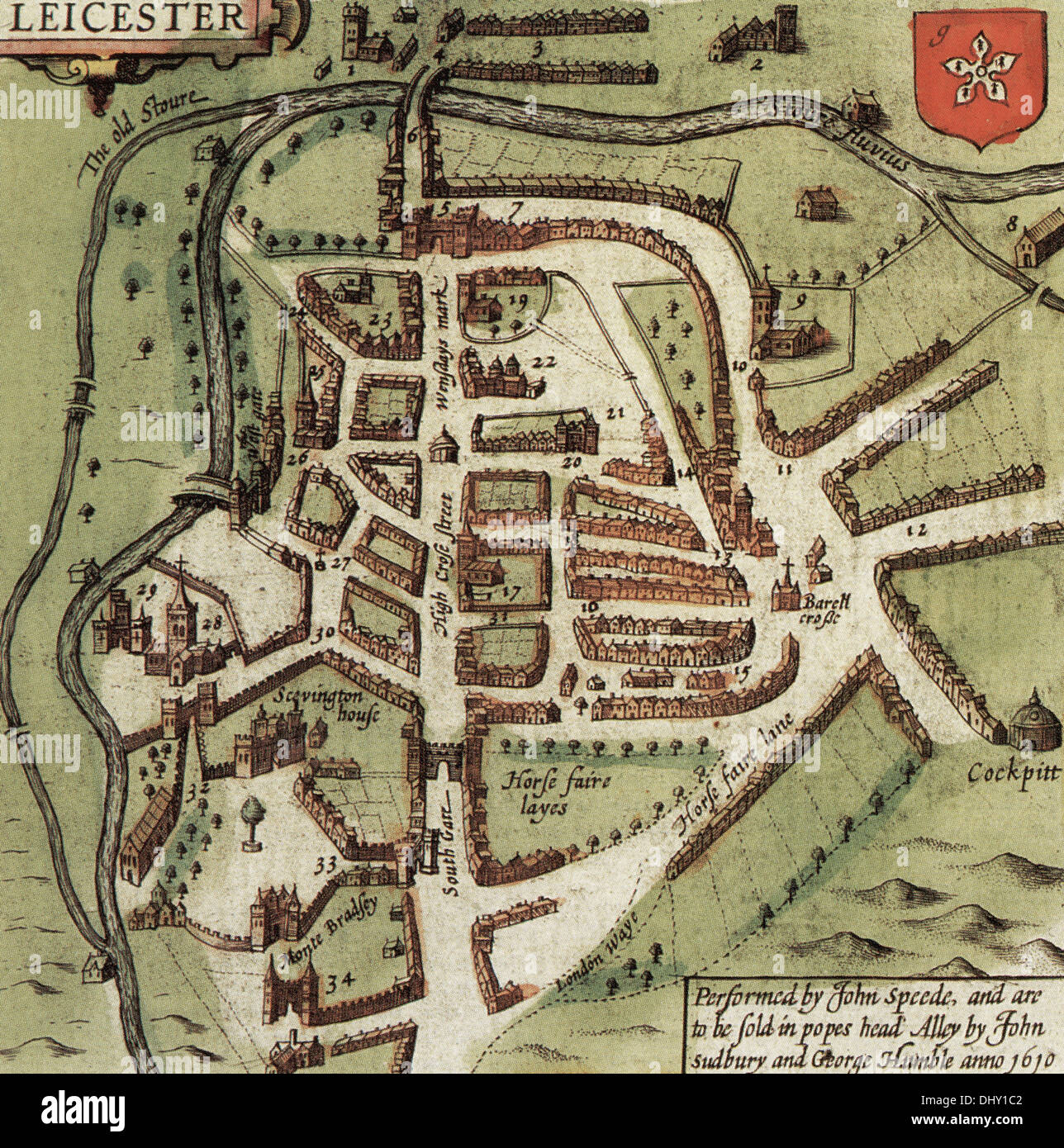 Old Map Of Leicester England By John Speed 1611 Stock Photo