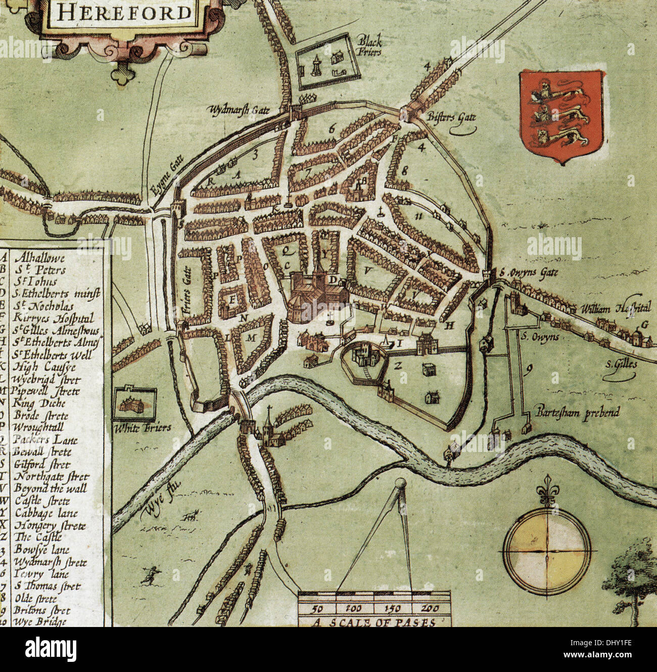 Map Of Hereford Old map of Hereford, England, by John Speed, 1611 Stock Photo