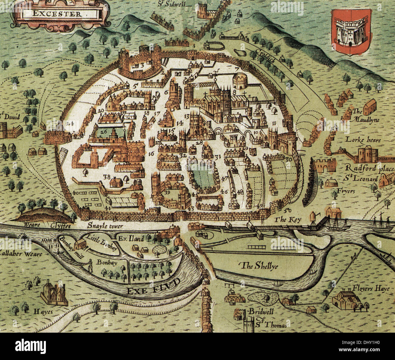 Old map of Exeter England by John Speed 1611 Stock Photo