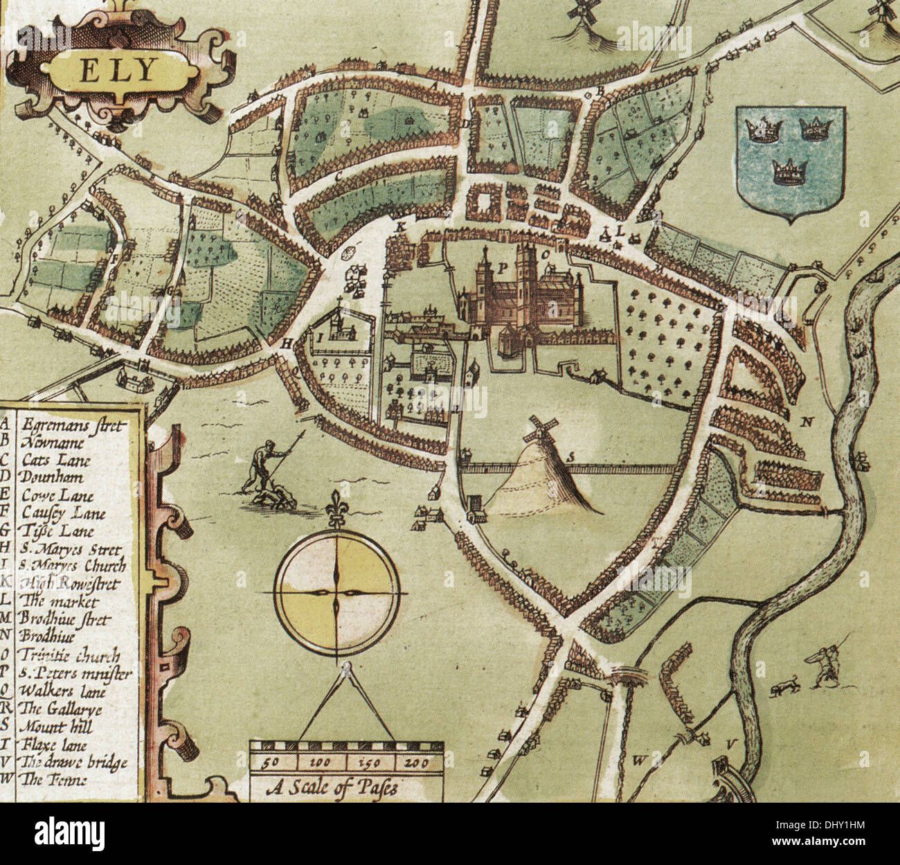 Map Of Ely Old Map Ely England John Stock Photos & Old Map Ely England John  Map Of Ely
