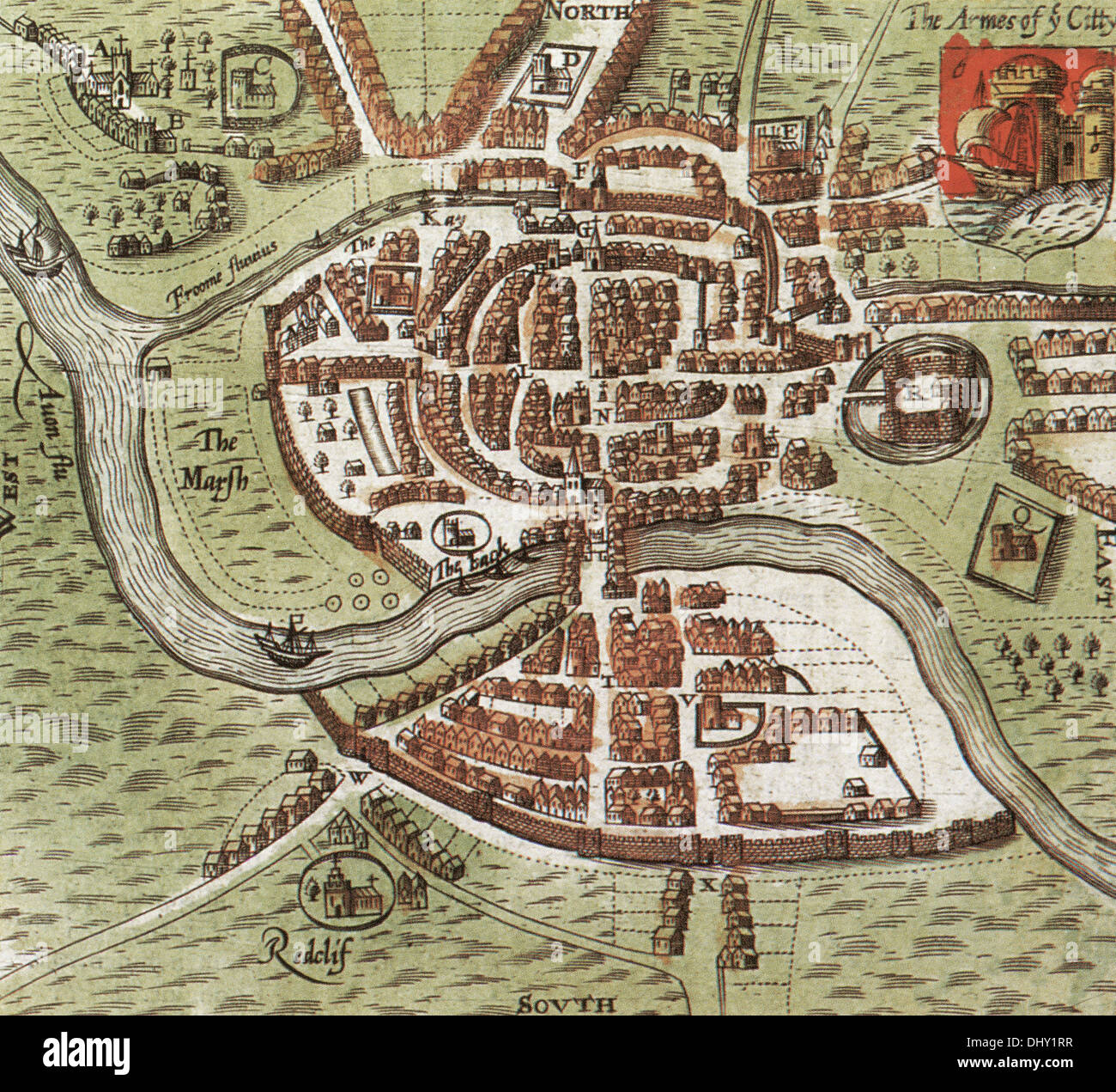Old map of Bristol by John Speed