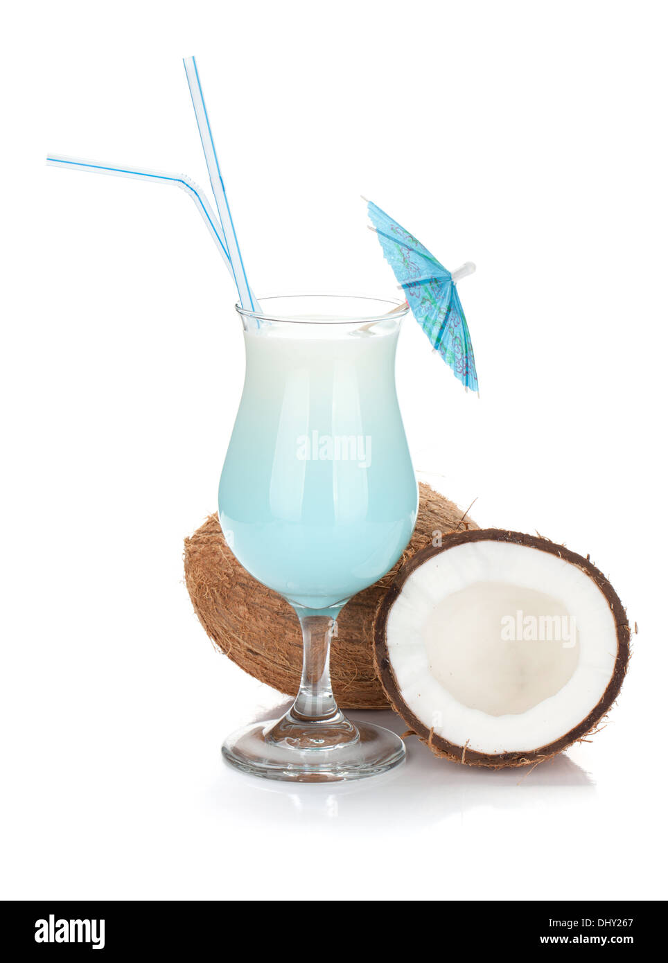 Blue coconut cream cocktail. Isolated on white background - Stock Image