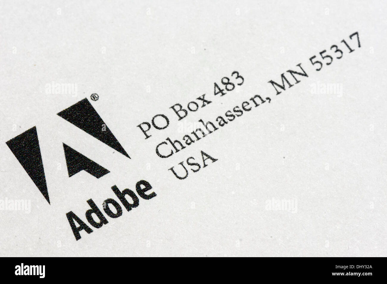 Worldwide, 16th Nov 2013 - Logo of Adobe at the top of a letter. Credit: © Stephen Barnes/Alamy Live News - Stock Image