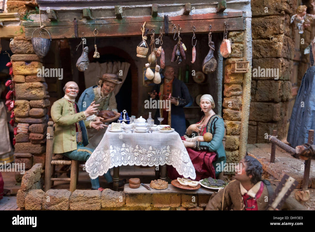 Neapolitan Baroque nativity scene, belén, in Cathedral of Valladolid  Museum, Spain. - Stock Image