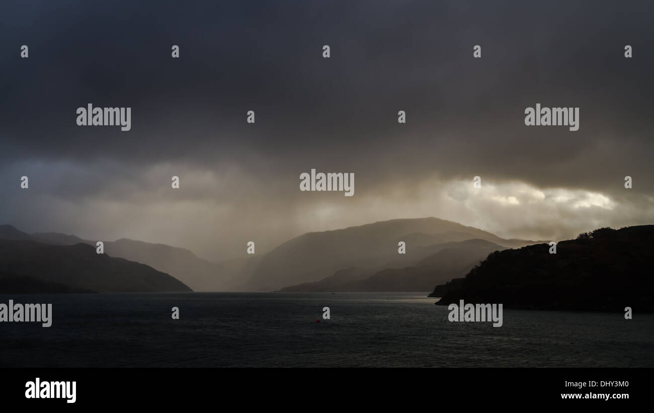 Weather closes in in Scotland's Highlands, Kylesku, UK - Stock Image