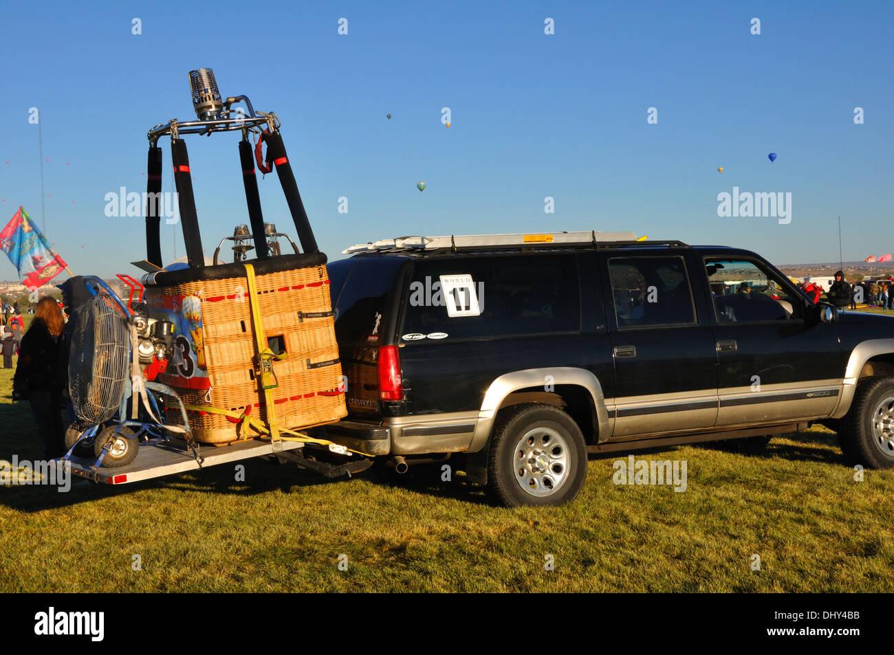 Hot air balloon chase team, The Albuquerque International Balloon Fiesta in Albuquerque, New Mexico, USA Stock Photo