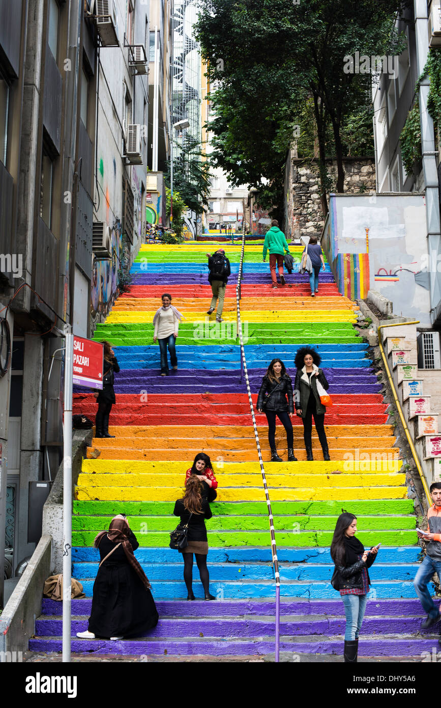 Colorfull steps in Istambul with locals taking pictures - Stock Image