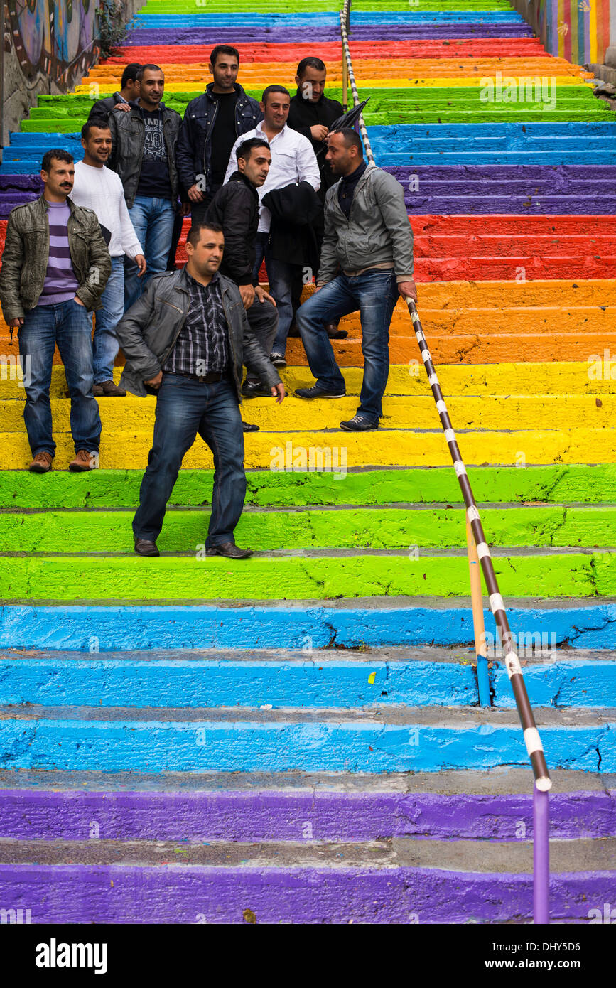Colorfull steps in Istambul with group of locals taking pictures - Stock Image