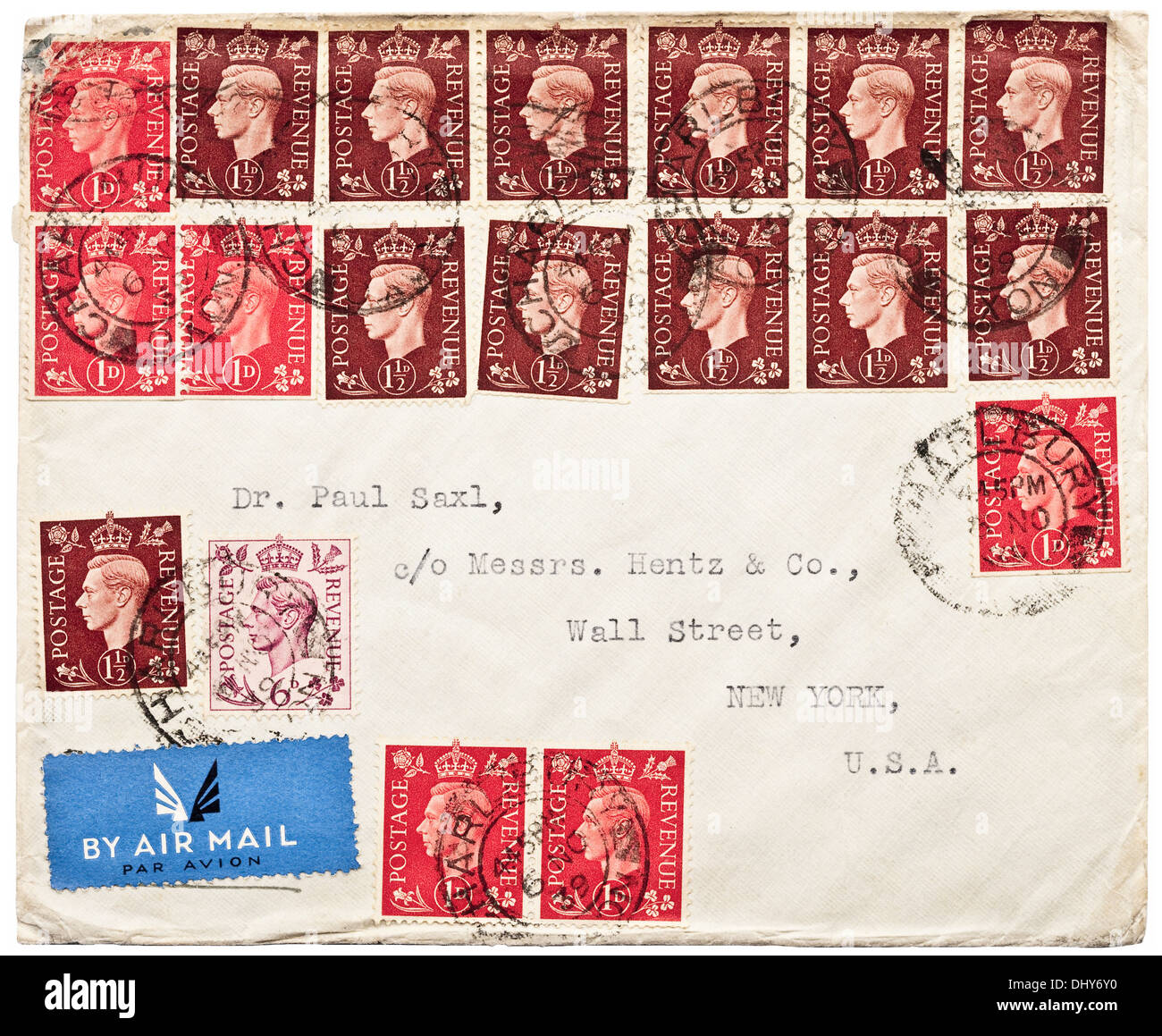 1939 British War Time Air Mail Envelope With 2 6d Of Multiple King