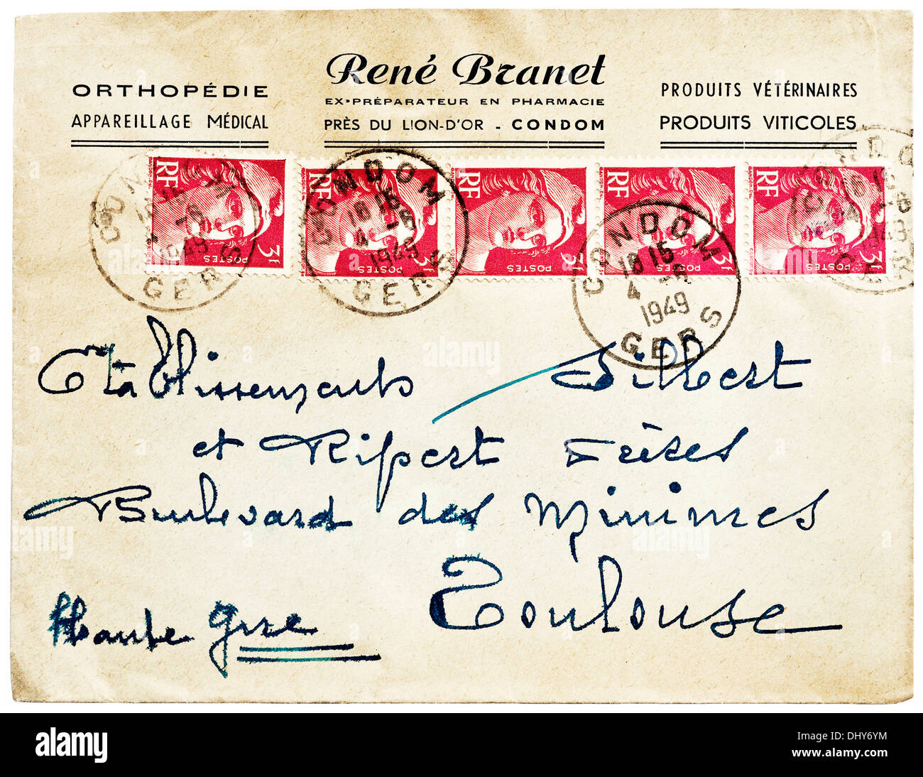 1949 French letter postmarked Condom, Gers, France with 5 Marianne de Gandon postage stamps affixed. - Stock Image