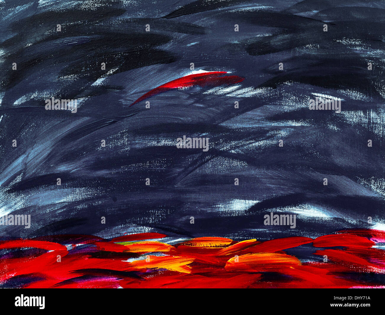 Modern abstract acrylic painting on canvas, by Ed Buziak. - Stock Image