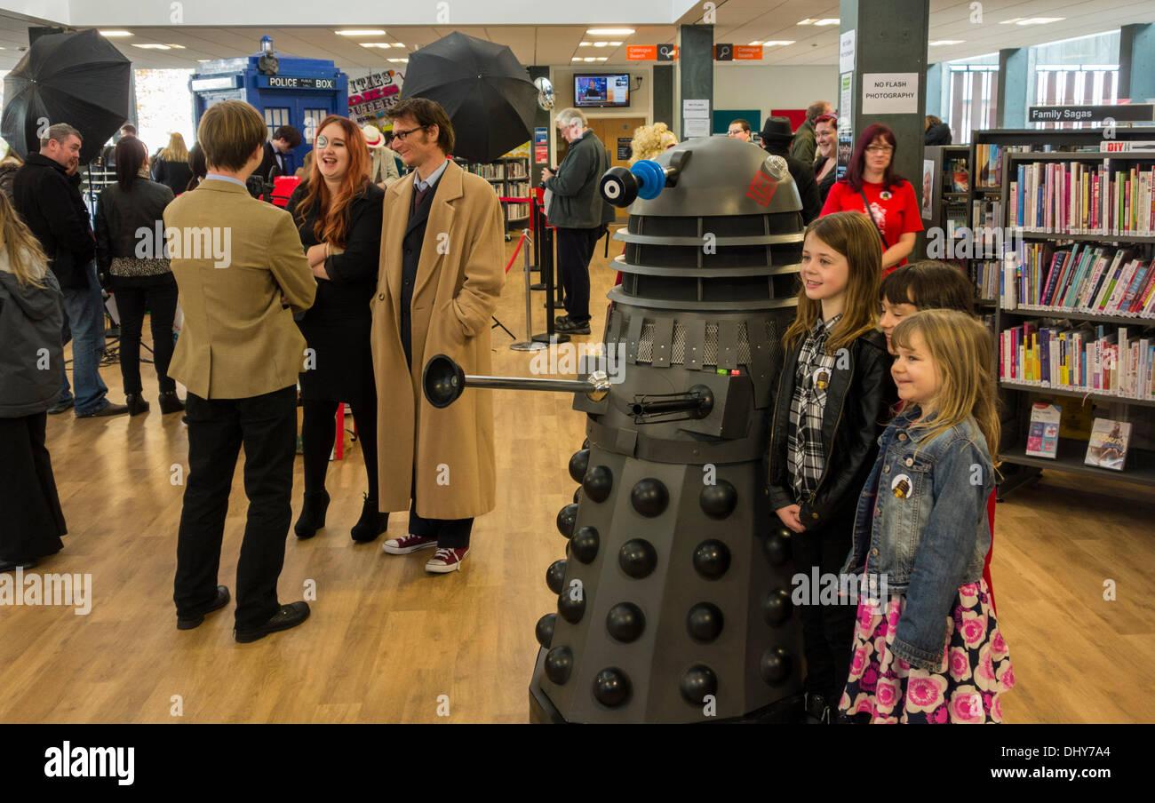 Dalekmania at Stockton library to celebrate The Doctor`s and Daleks 50th birthday. Stockton on Tees, England, UK - Stock Image