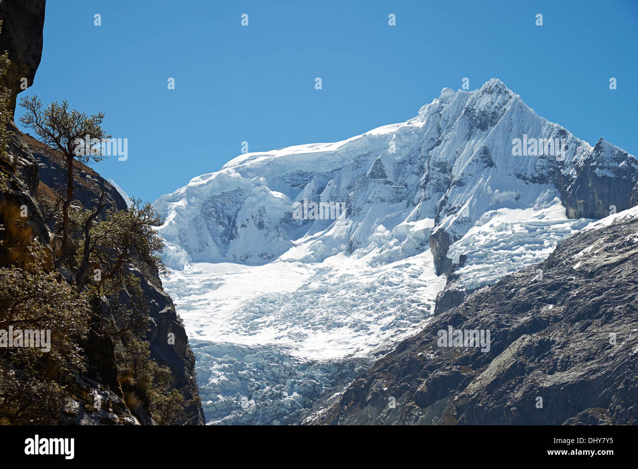 Ranrapalca Summit (6162m) in the Peruvian Andes, South America. - Stock Image