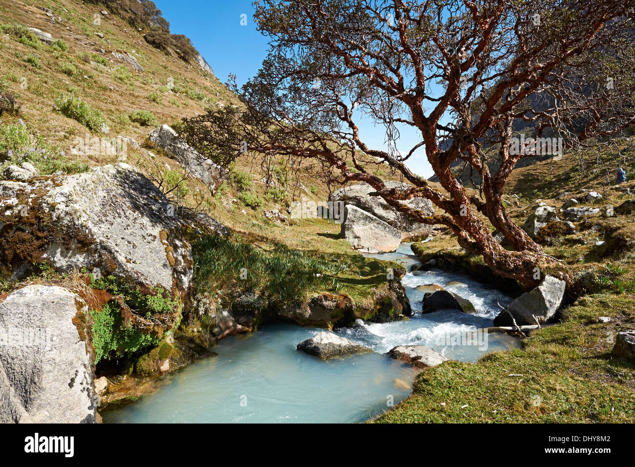 A river running though the Llaca valley in the Peruvian Andes, South America. - Stock Image