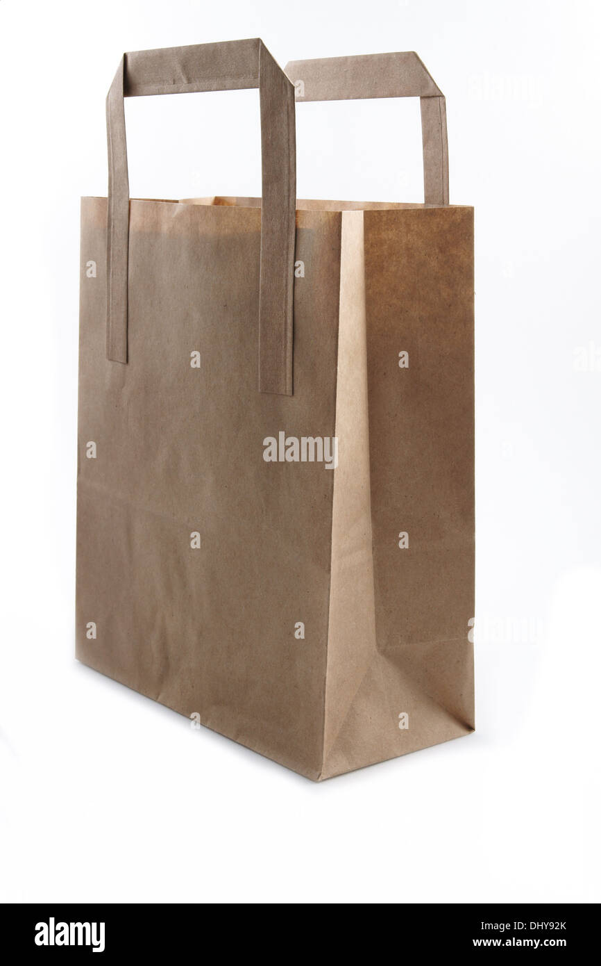 Brown Paper Shopping or lunch bag studio isolated - Stock Image