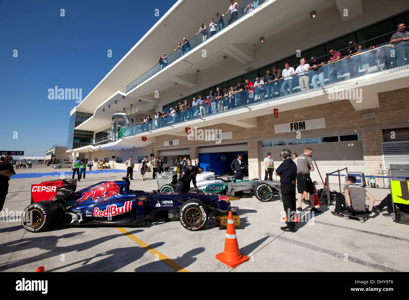 Scuderia Toro Rossi racing team car on pit row after a practice session for the Formula1 United States Grand Prix near Austin TX - Stock Image
