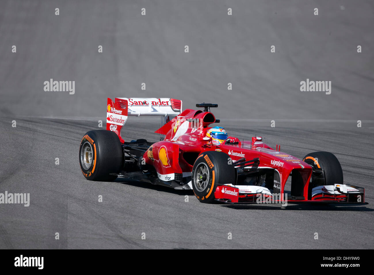 F1 driver during practice run for the United States Grand Prix at the Circuit of the Americas track near Austin Texas - Stock Image