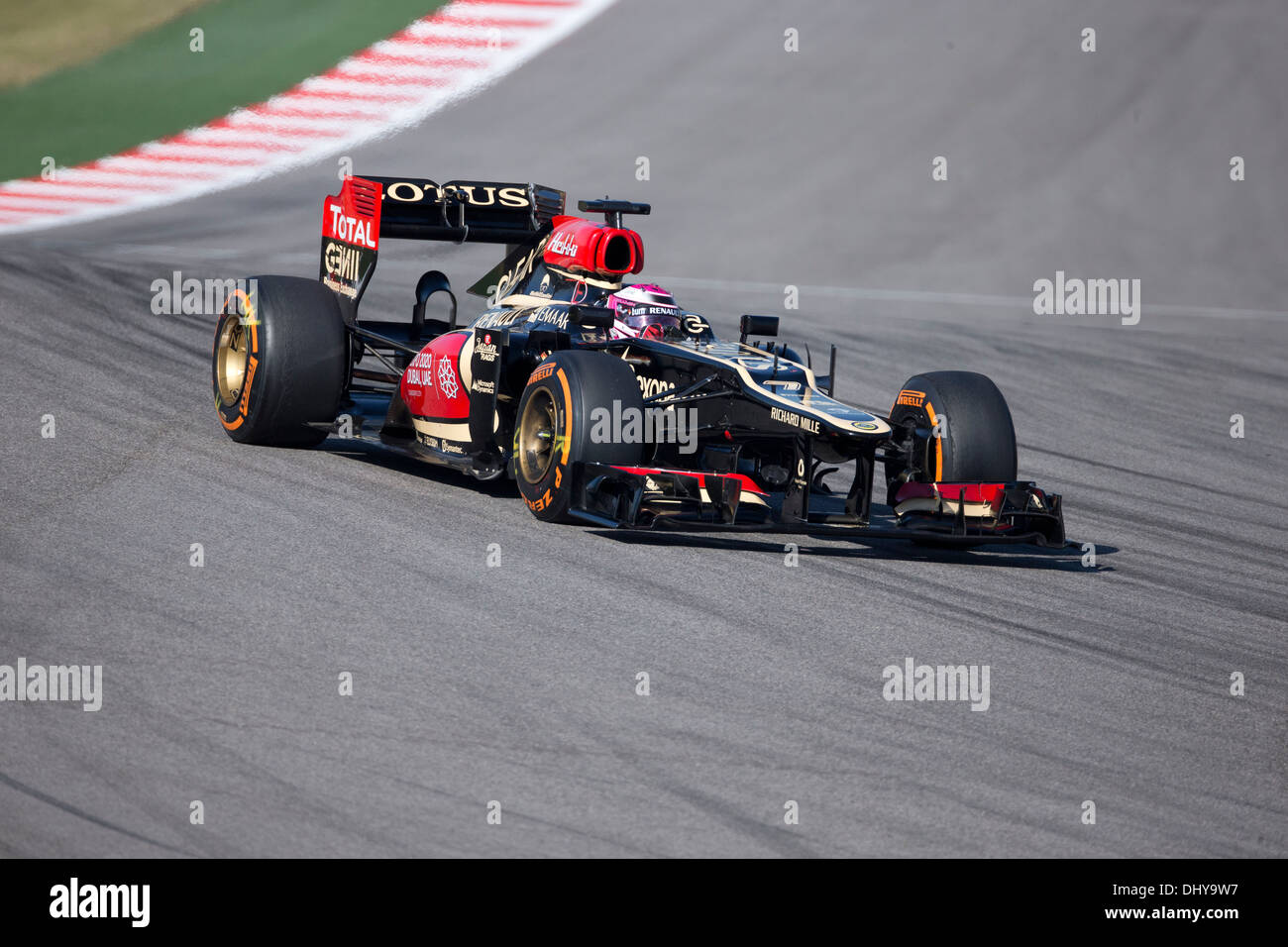 Driver Heikki Kovalainen of Lotus F1 racing at t practice session for the Formula 1 Grand Prix near Austin TX - Stock Image