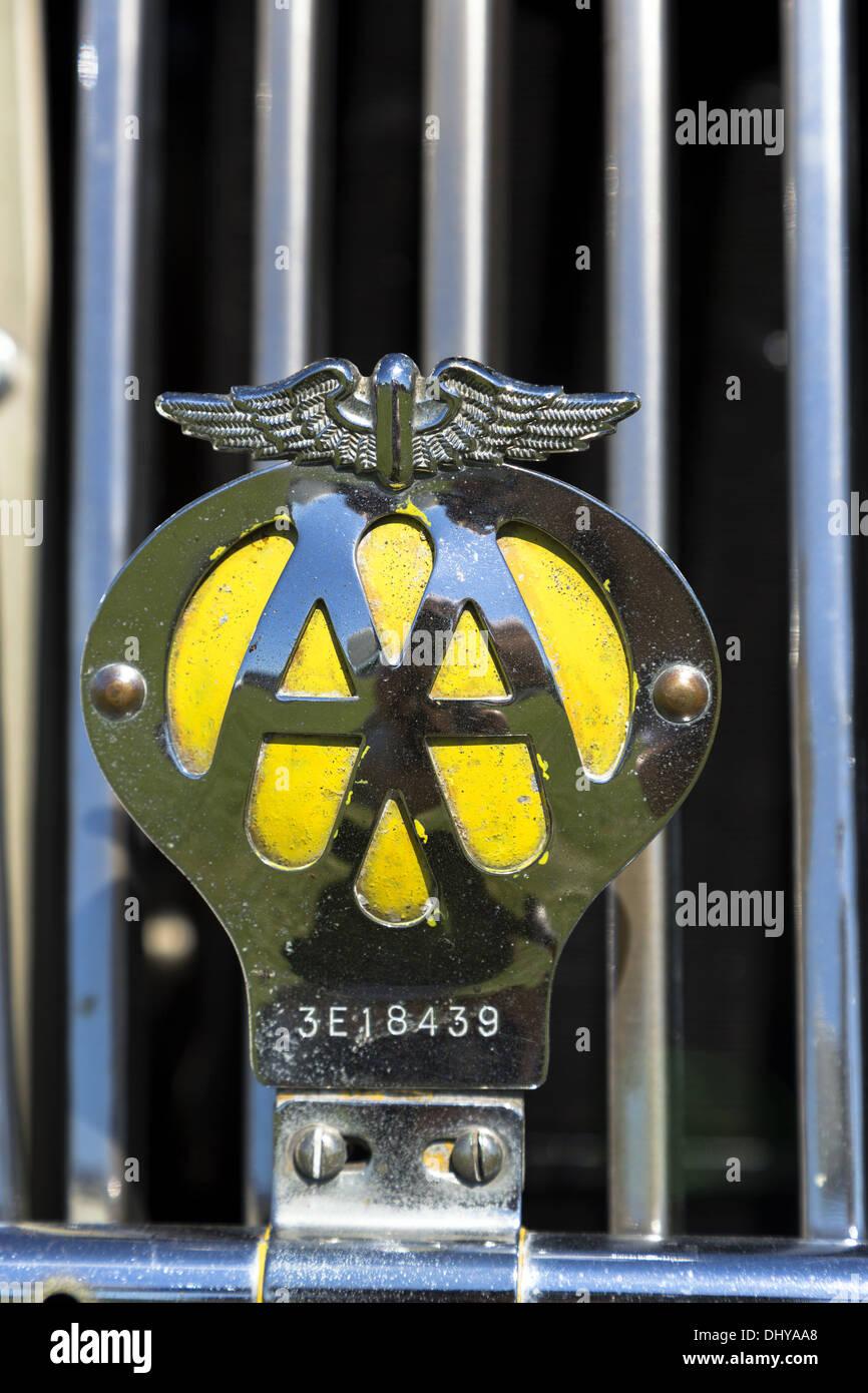 Classic AA Automobile Association badge close up - Stock Image