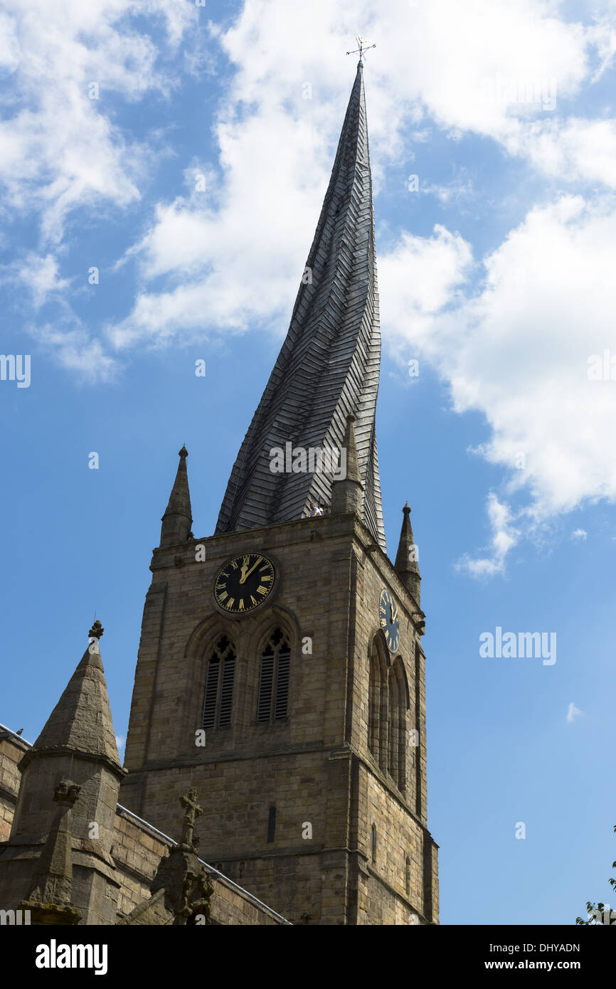 The Crooked Spire of Chesterfield Parish Church of St Mary and All Saints, Chesterfield, Derbyshire, England - Stock Image