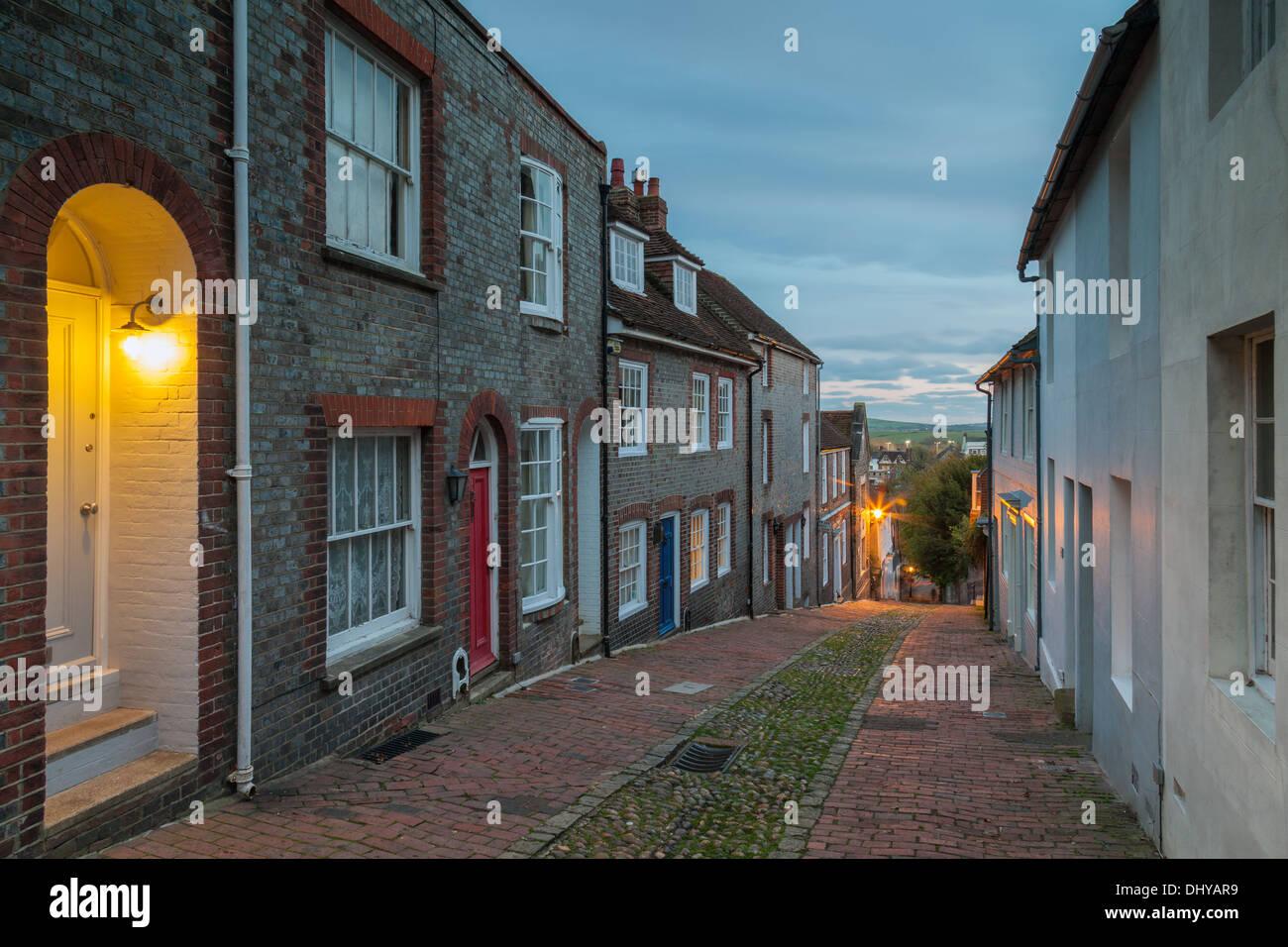 Dusk at Keere Street in Lewes, East Sussex, UK Stock Photo