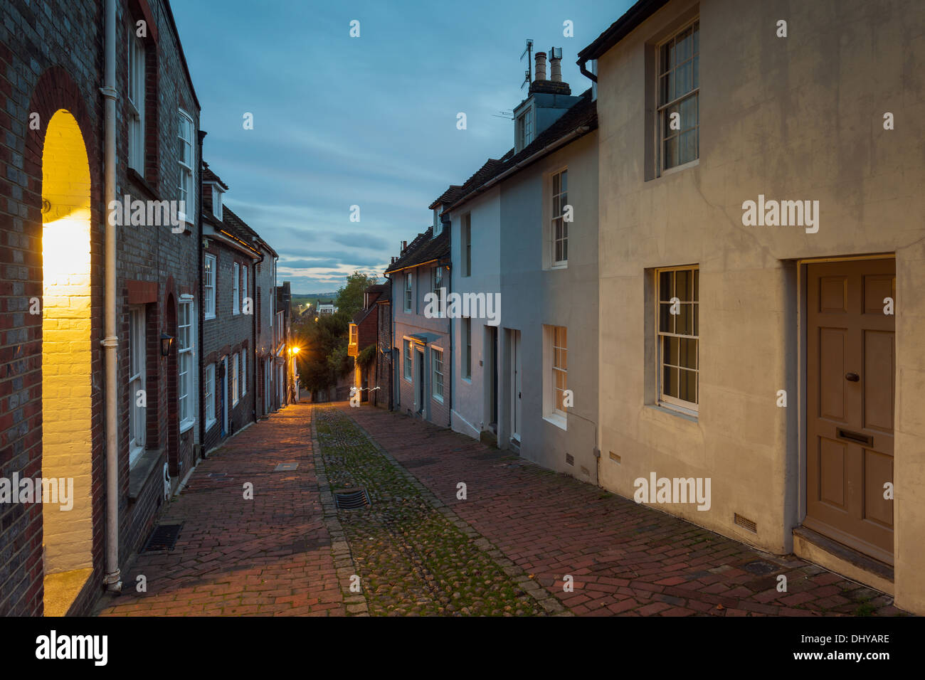 Dusk at Keere Street in Lewes, East Sussex, England. Stock Photo