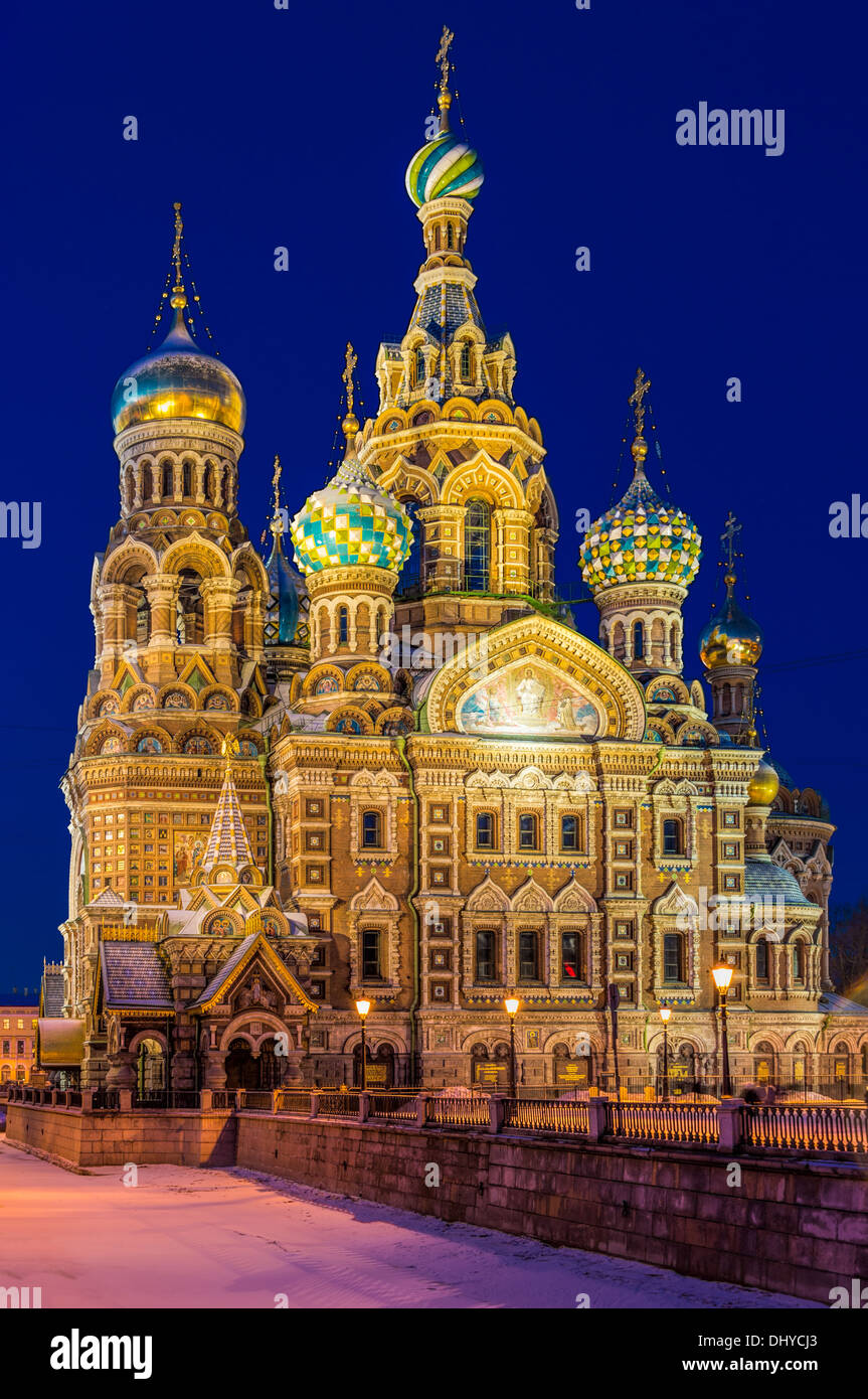 Church of the Savior on Blood in St. Petersburg, at night. - Stock Image
