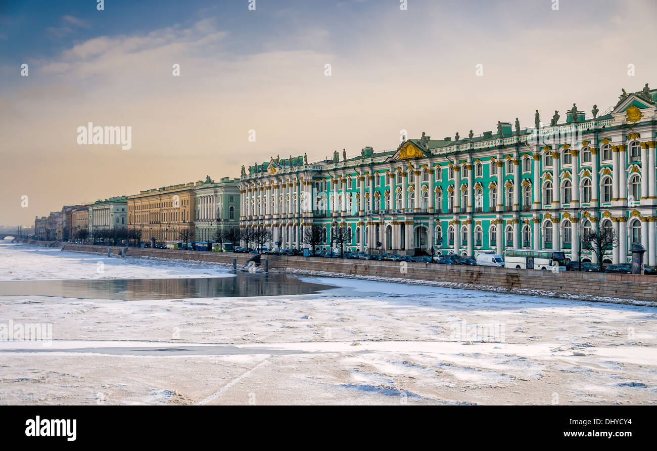 View of Saint Petersburg during winter from the banks of the Neva river. - Stock Image