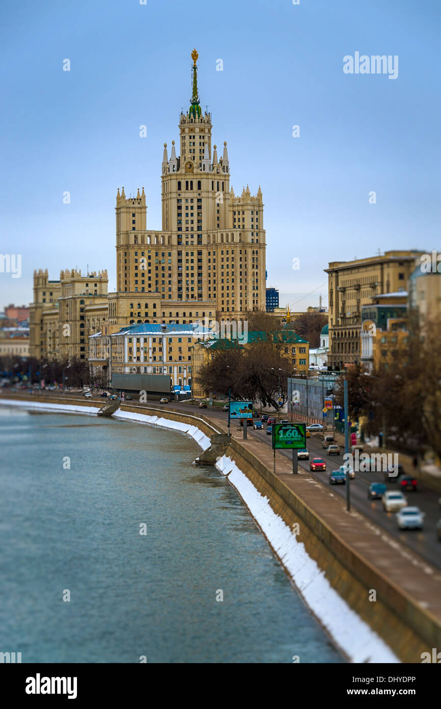 """MOSCOW - CIRCA MARCH 2013: View of one the famous """"Seven Sisters"""" or Stalinskie Vysotki Building in Moscow, circa 2013. With a population of more than 11 million people is one the largest cities in the world and a popular tourist destination. Stock Photo"""