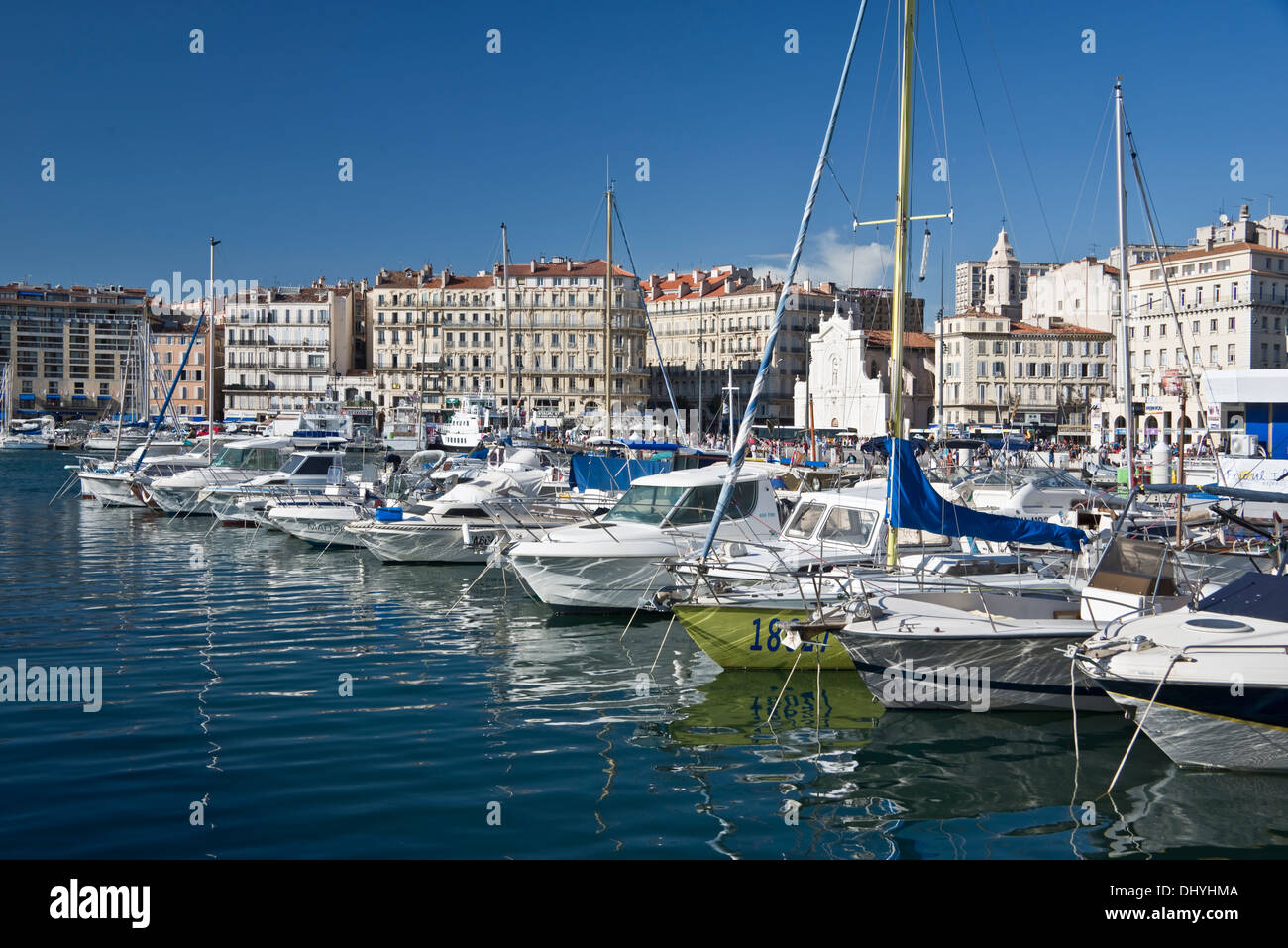 Sailboats in the old port of Marseille, Bouches-du-Rhône, France - Stock Image