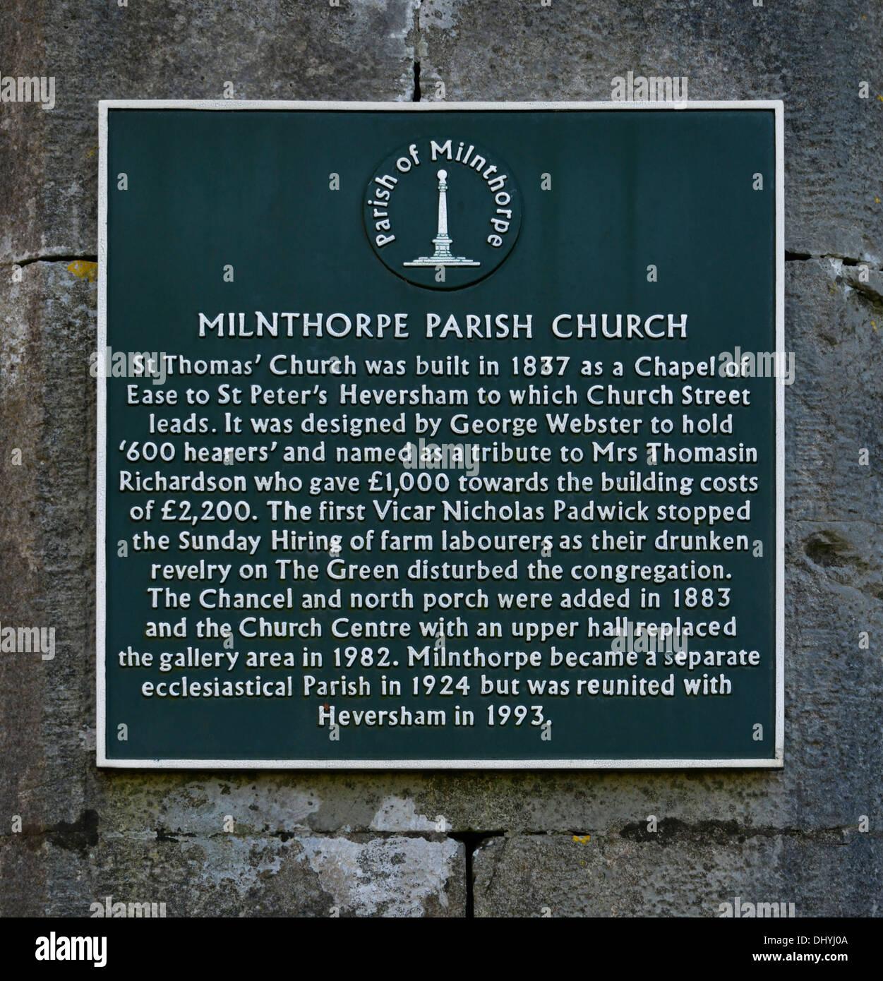 Descriptive plaque. Church of Saint Thomas. Milnthorpe, Cumbria, England, United Kingdom, Europe. - Stock Image