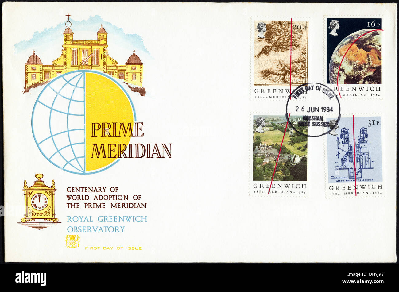 Commemorative 16p 20½p 28p & 31p postage stamp first day cover for Greenwich Meridian issue postmark Horsham West Sussex 26 June 1984 - Stock Image