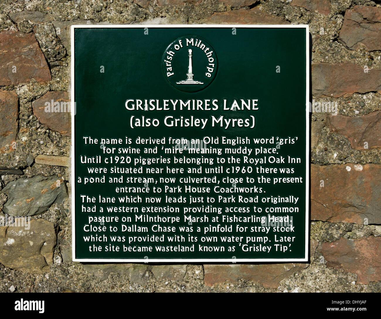 Descriptive plaque. Grisleymires Lane, Milnthorpe, Cumbria, England, United Kingdom, Europe. - Stock Image