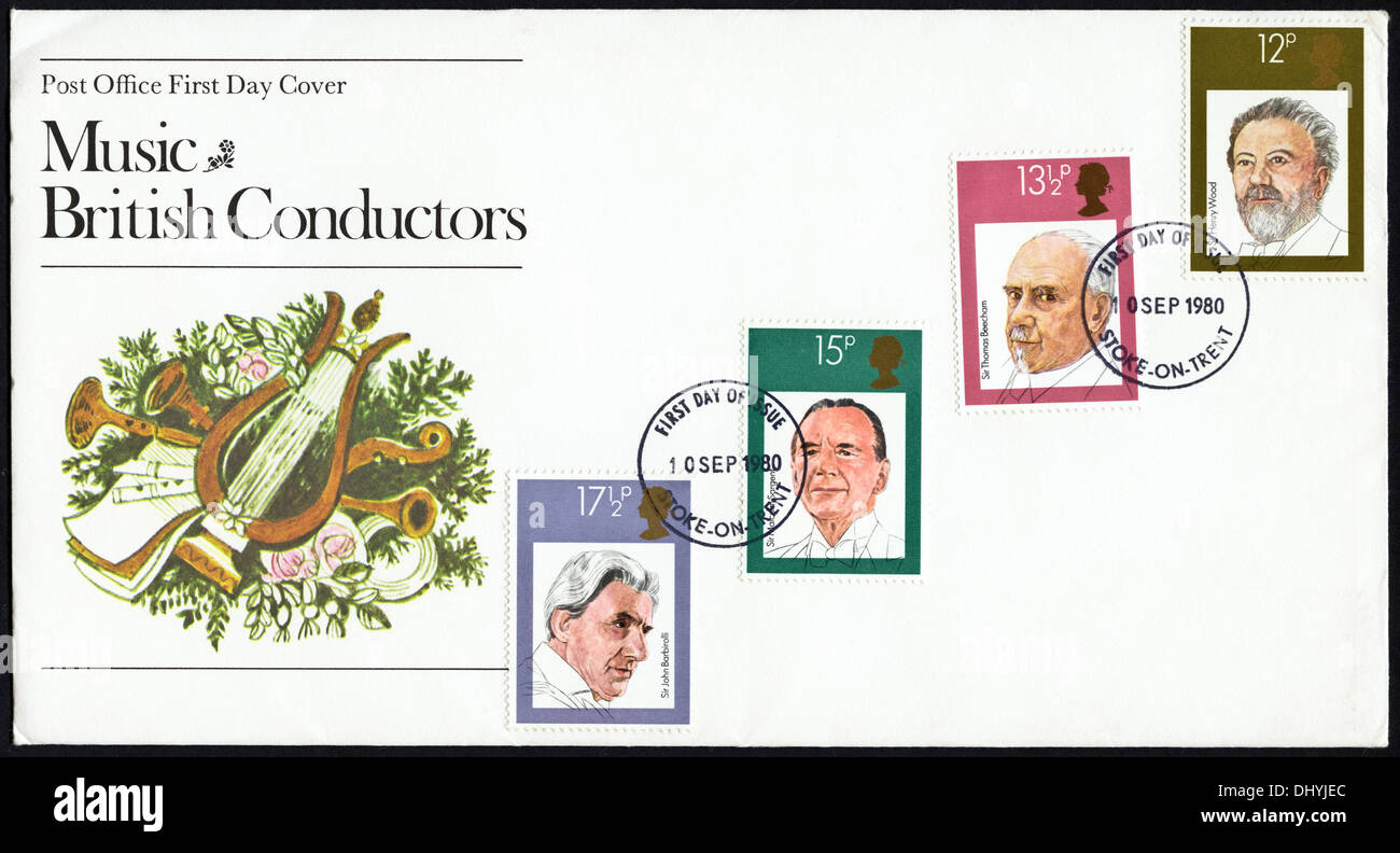 Commemorative Post Office 12p 13½p 15p & 17½p postage stamp first day cover for Music British Conductors issue postmark Stoke-on-Trent 10 September 1980 - Stock Image
