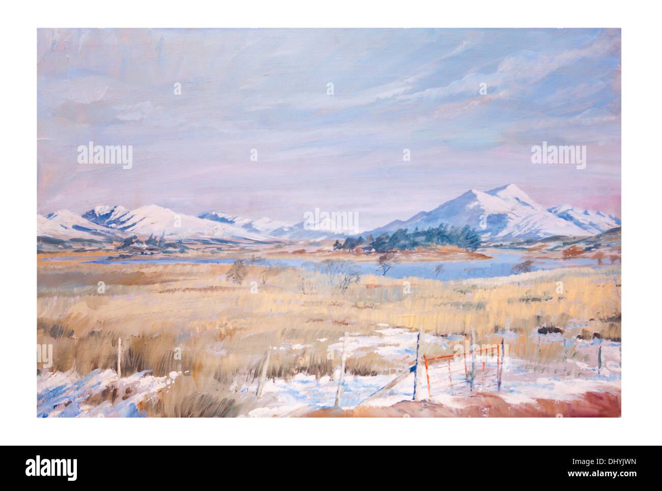 Scottish Winter Mountain Landscape Oil Painting - Stock Image