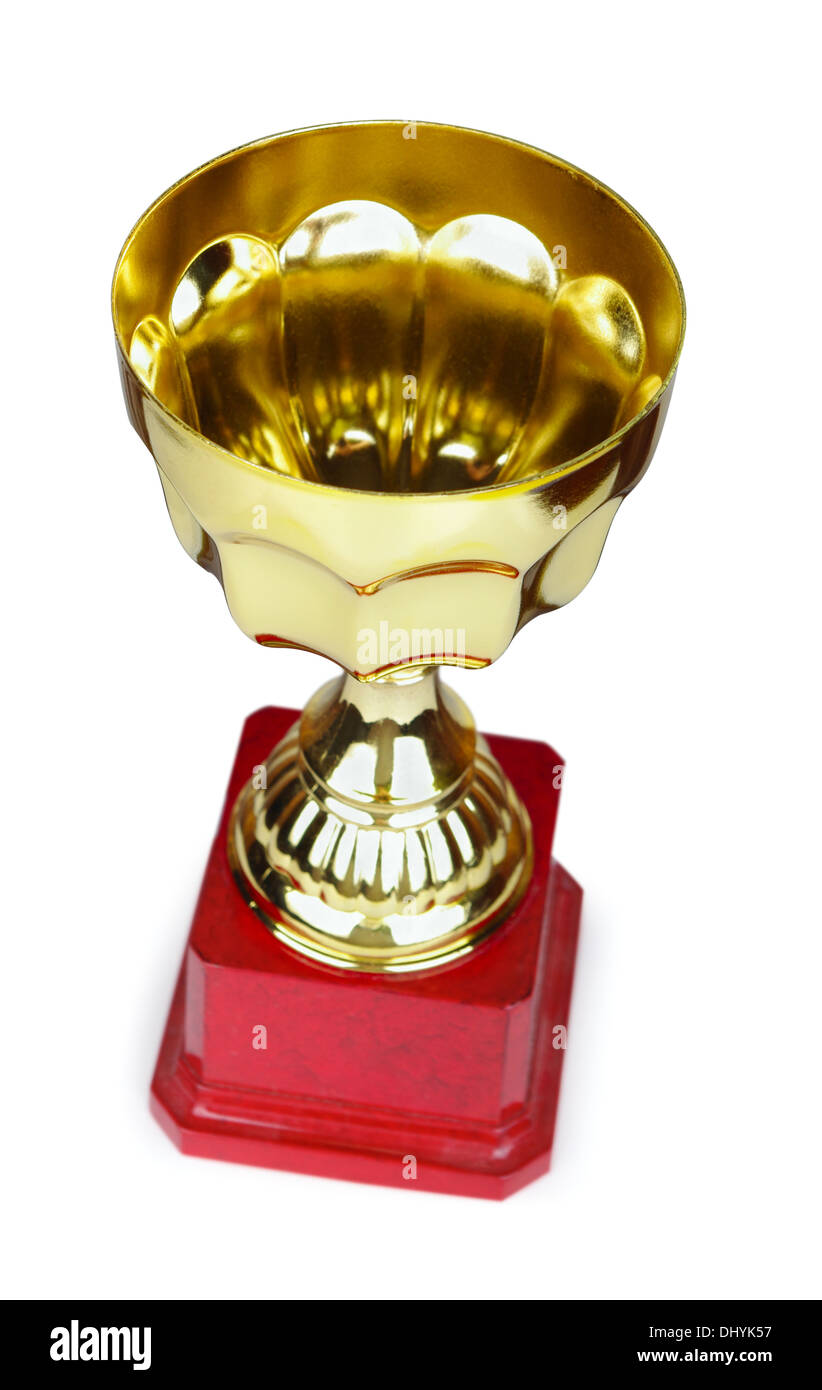 Gold award cup on a white background - Stock Image