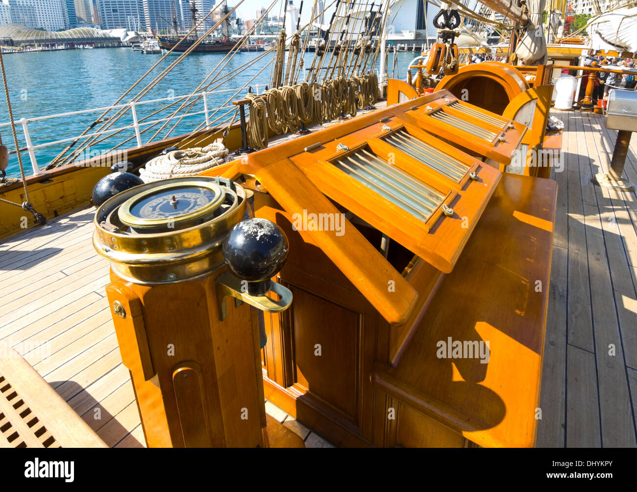 Deck of the James Craig Tall Ship, Sydney, Australia - Stock Image